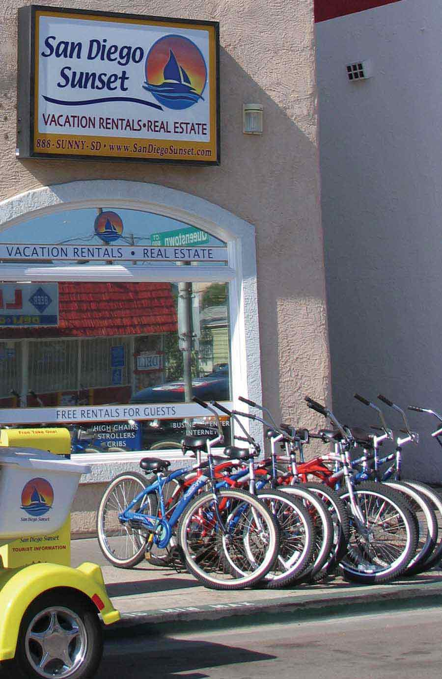 A row of bicycles await free usage by San Diego Sunset Vacation Rental guests.
